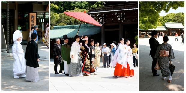 Meiji-pyhäkössä oli käynnissä useammat häät. Vasemmalla hääpari (huomaa morsiamen upea päälaite), keskellä hääkulkue ja oikealla juhlakansaa.