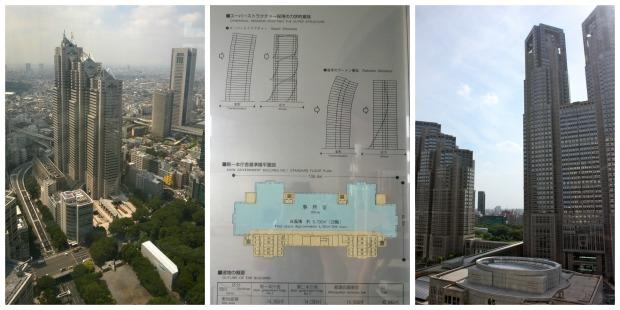 Vasemmalla näkymä 45. kerroksesta, keskellä infotaulun rakenneselvitys, oikealla kuva hallitusrakennuksen tornista, josta vasemmanpuoleinen kuva on otettu.