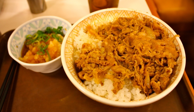 Halvin ruokamme: riisiä, lihakäristystä ja jotain raastettua vihannesta.