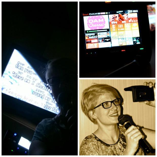 Karaoke. Ei oo helppoa laulaa karaokea ja ottaa selfietä samaan aikaan - pimeessä.