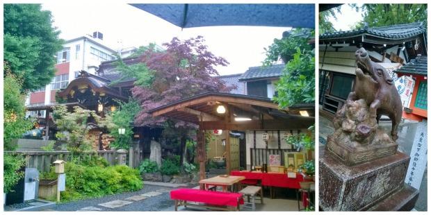 Ilmeisesti villisioille omistettu pyhäkkö sateisessa Kiotossa